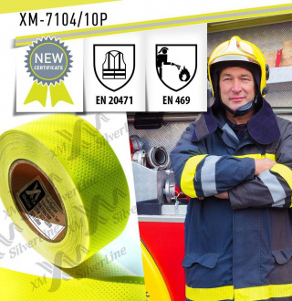 Perforated reflective tape XM-7104/10P tested to EN 469 & EN 20471